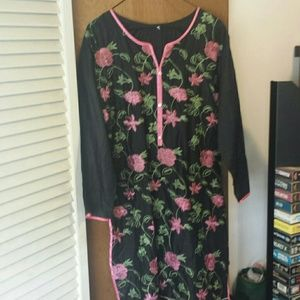 Floral Embroidered Dress Cover-up L